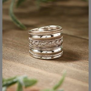 STERLING SILVER BRAID-ACCENT RING